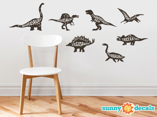 Dinosaur Wall Decals, Set of 7 Fabric Wall Decals, Brachiosaurus, Tyrannosaurus Rex, Triceratops, Stegosaurus, Pterodactylus, and More, Non toxic Educational Wall Art