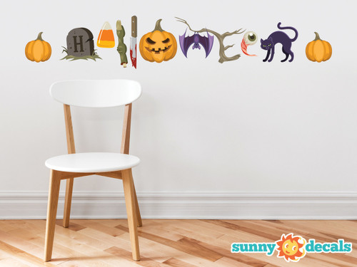 Halloween Words Fabric Wall Decals   Halloween Spelled Out With Spooky  Characters   Non Toxic