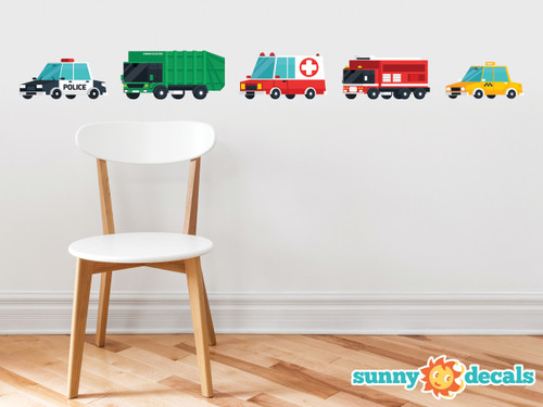 Transports Fabric Wall Decal, Set of 5 Emergency Rescue Vehicles and City Trucks - Sunny Decals