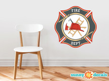 Firefighter Emblem Fabric Wall Decal - Fire Department Sticker with Axe and Ladder, Fire Fighter Maltese Cross Décor - Sunny Decals