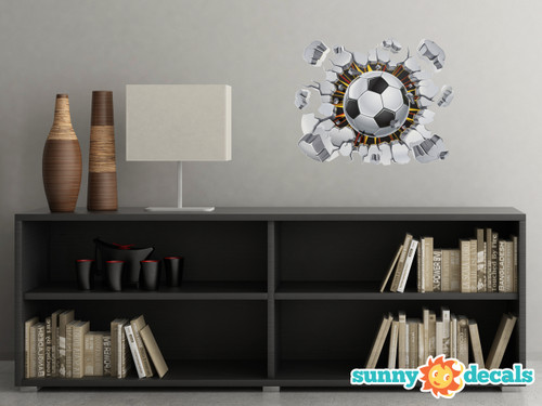 Soccer Ball Fabric Wall Decal   3D Break Through The Wall Soccer Football  Wall Décor,