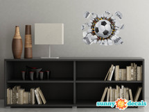 Soccer Ball Fabric Wall Decal - 3D Break Through The Wall Soccer Football Wall Décor, Removable Self Adhesive Wall Sticker for Kids Room