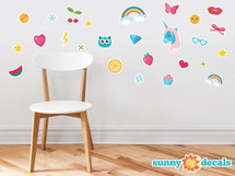 Wall Decals For Girls - Set of 27 Emoji Emoticon Fabric Wall Décor with Rainbows, Unicorn, Hearts, Butterfly, Hashtag, Stars, Cupcake, and More