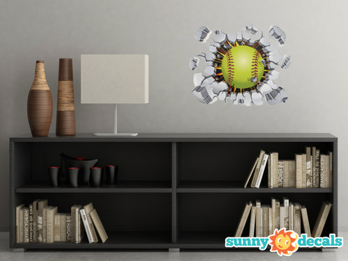 Softball Fabric Wall Decal - 3D Break Through The Wall Softball Wall Art, Softball Player Inspiration Wall Décor, Removable Self Adhesive Softball Decal - Sunny Decals