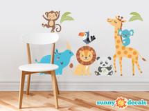 Wild Animal Park Fabric Wall Decals with Panda, Lion, Giraffe, Rhino, Toucan, Koala, and Monkey - Sunny Decals