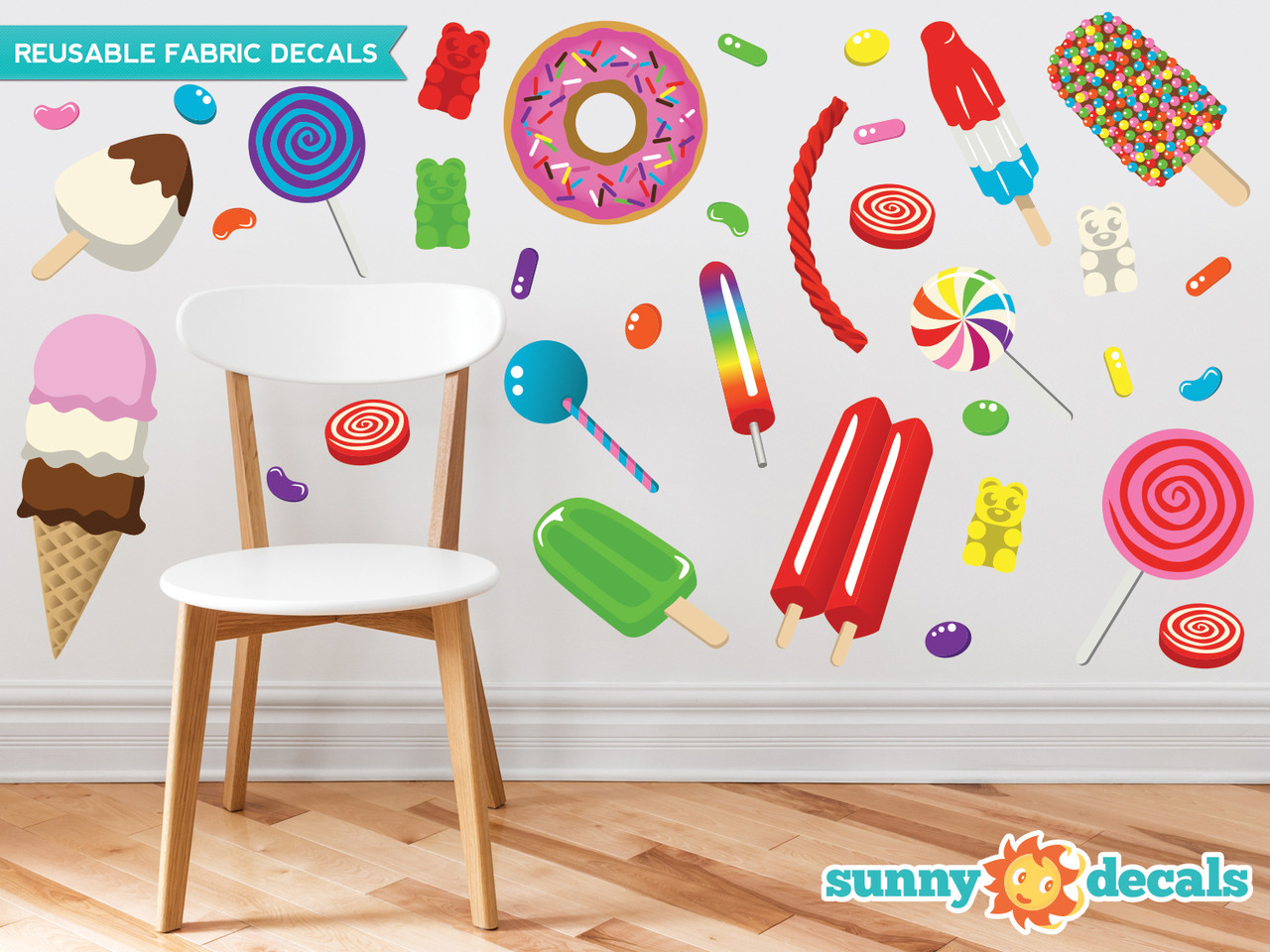 Candy fabric wall decals gummy bears lollipops jelly beans for Candy wall mural