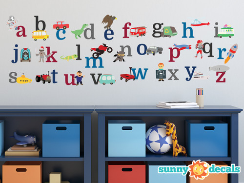 Alphabet Fabric Wall Decals for Boys, ABC Wall Stickers
