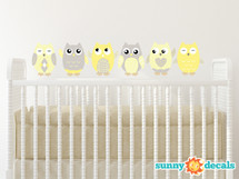Owl Fabric Wall Decals - Yellow, Grey, White - Sunny Decals