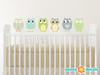 Owl Fabric Wall Decals - Green, Taupe, Grey - Sunny Decals