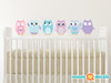Owl Fabric Wall Decals - Pink, Turquoise, Purple - Sunny Decals