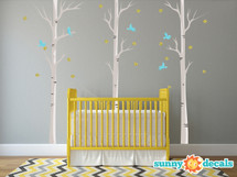 Modern Birch Trees Fabric Wall Decals - Sunny Decals