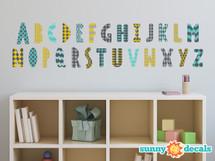 Modern Alphabet Fabric Wall Decals - Orange Grey Turquoise Black - Sunny Decals