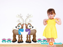 Reindeer Fabric Wall Decals with Flowers - Sunny Decals