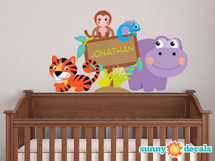 Jungle Name Fabric Wall Decal, Custom Name Sign Decal - Sunny Decals