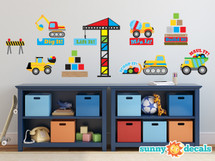 Construction Fabric Wall Decal with Dump Truck, Cement Mixer, Bulldozer, Excavator - Sunny Decals