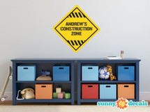 Construction Name Fabric Wall Decal, Custom Name Sign Decal - Sunny Decals