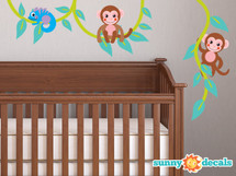 Monkeys on a Vine Fabric Wall Decal, Monkey Vine Decal, Monkey Wall Sticker - Sunny Decals