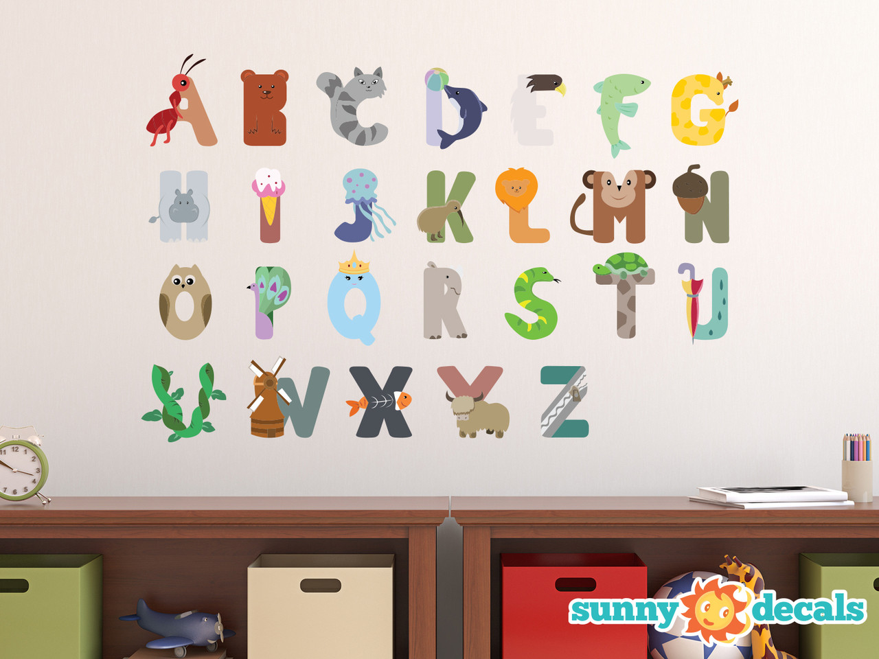 Animal alphabet fabric wall decals dolphin eagle hippo for Alphabet wall mural