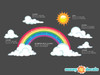 Sparkling Rainbow Fabric Wall Decal with Sun and Clouds - Detailed - Sunny Decals