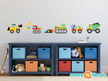 Construction trucks fabric wall decal - Sunny Decals