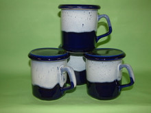 4 sparta cobalt blue mugs  with lids / costers