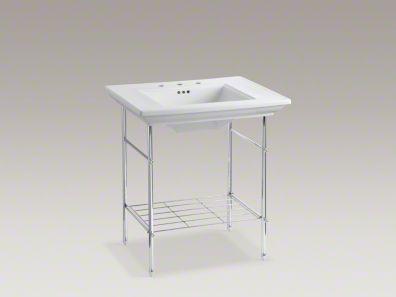 KOHLER MEMOIRS Stately K-2269 White Sink + K-6880 Console Vanity Table ...