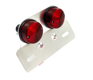 Universal Dual Round Tail Light Assembly With License Plate Bracket