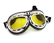 CRG Vintage Aviator Style Motorcycle Goggles - Black Padding - Chrome Frame - Yellow Lens