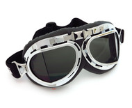 CRG Vintage Aviator Style Split Lens Motorcycle Goggles - Black Padding - Chrome Frame - Smoke Lens