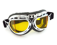 CRG Vintage Aviator Style Split Lens Motorcycle Goggles - Black Padding - Chrome Frame - Yellow Lens
