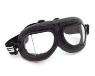 CRG Vintage Aviator Style Split Lens Motorcycle Goggles - Black Padding - Black Frame - Clear Lens