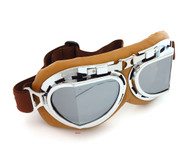 CRG Vintage Aviator Style Split Lens Motorcycle Goggles - Brown Padding - Chrome Frame - Mirror Lens