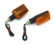Mini Black Rectangular Turn Signals - Amber Lens - Single Filament