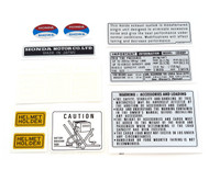 Warning and Service Label Set - 1976 Honda CB400F - Light Ruby Red