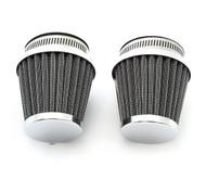 Set of 2 Chrome Pod Filters - 54mm - Honda CB/CM400/450 CX/GL500/650