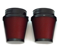 Set of 2 Black & Red Pod Filters - 50mm - Honda CB/CL350/360/450 CB500T