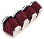 Set of 4 Chrome Performance Oval Pod Filters - 54mm - Honda CB650/750/900/1000/1100