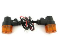 Black Aluminum Turn Signals - Amber Lens - Single Filament