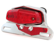 Lucas Style LED Tail Light Assembly - Chrome w/ Red Lens