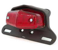 Lucas Style Tail Light Assembly - Matte Black w/ Red Lens