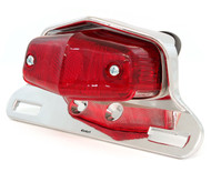 Lucas Style Tail Light Assembly - Chrome w/ Red Lens