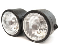 Side Mount Dual Halogen Headlights - Matte Black w/ Clear Lens