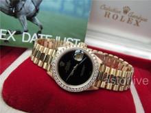 Lady's 18k Rolex President Datejust Ref 69178 Black Onyx Dial 9 Mil Serial #507