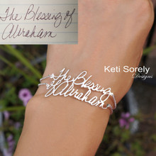 Handwritten Message Bracelet with Double Line - Choose Your Metal
