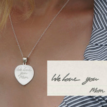 Handwritten Signature Heart Charm Necklace - Choose Your Metal