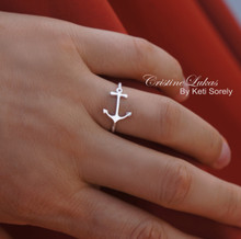 Celebrity Style Sideways Anchor Ring with Rope Design - sterling Silver or Solid Gold