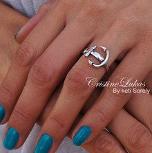 Large Style Sideways Anchor Ring - Choose Your Metal