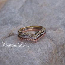 Set of 3 - ClassicTri Color Chevron Stacking Ring with Cubic Zirconia Stones - Sterling Silver, Rose and Yellow Gold