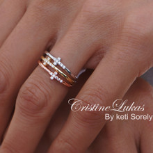 Tri Color Sideways Cross Stackable Rings Set - Yellow, Rose &White