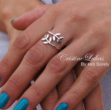 30% off - Double Wrap Adjustable Olive Branch Ring - Sterling Silver or Solid Gold